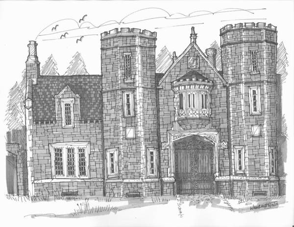 Drawing - Ward Manor Bard College by Richard Wambach