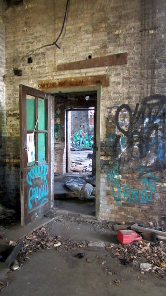 Photograph - Warehouse Brick Wall W Doors 1 by Anita Burgermeister