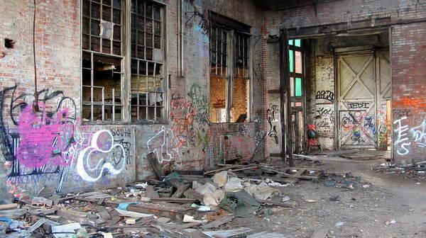 Photograph - Warehouse Broken Windows And Debris by Anita Burgermeister