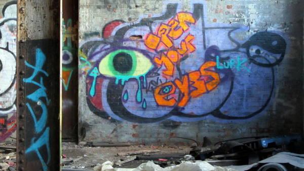 Photograph - Warehouse Graffiti Eyes 2 by Anita Burgermeister