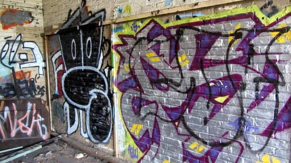 Photograph - Warehouse Graffiti In Purple by Anita Burgermeister