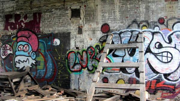 Photograph - Warehouse Graffiti Smurf 1 by Anita Burgermeister