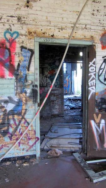 Photograph - Warehouse View Through Doors by Anita Burgermeister