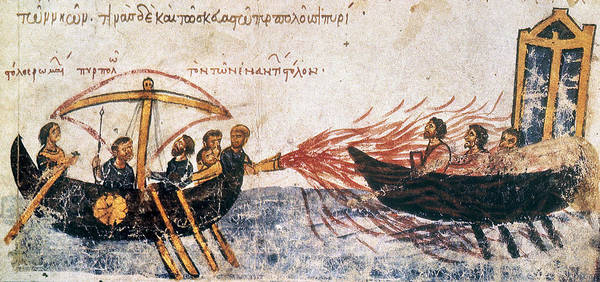 Painting - Warfare Greek Fire by Granger