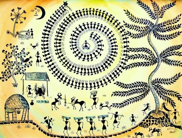 Drum Circle Wall Art - Painting - Warli Day by Anjali Vaidya