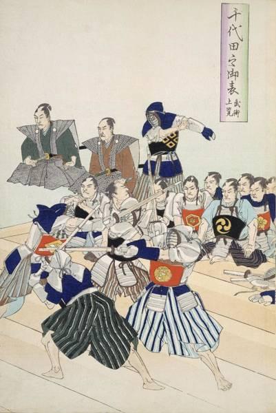 Samurai Painting - Warlord Watches Samurai Practising by Japanese School