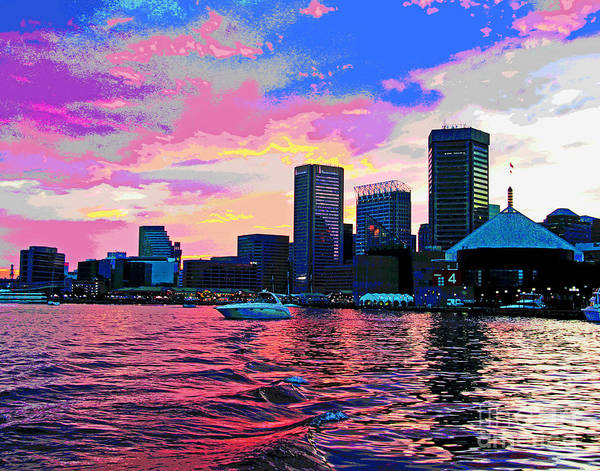 Photograph - Warm Baltimore Harbor Sunset by Larry Oskin