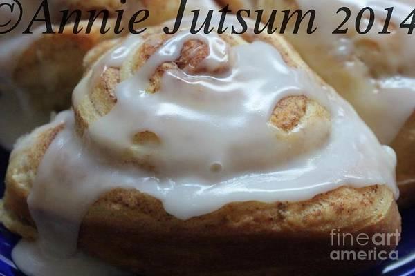Cinnamon Buns Photograph - Warm Cinnamon Bun  by Annie Jutsum