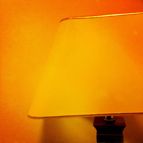Light Photograph - Warm Inside - Lamp With Warm Orange Light by Matthias Hauser