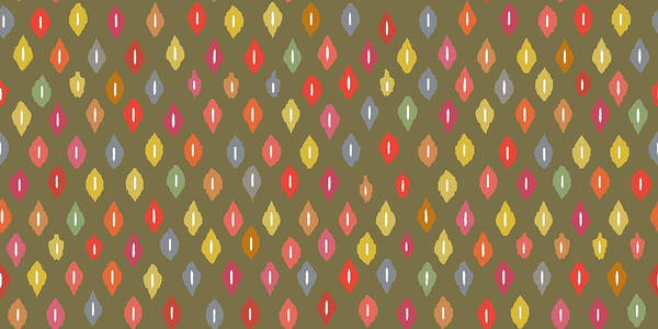 Graphics Drawing - Warm Little Ikat Diamonds by MGL Meiklejohn Graphics Licensing