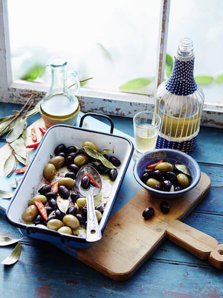 Blue Spoon Photograph - Warm Olives by Brett Stevens