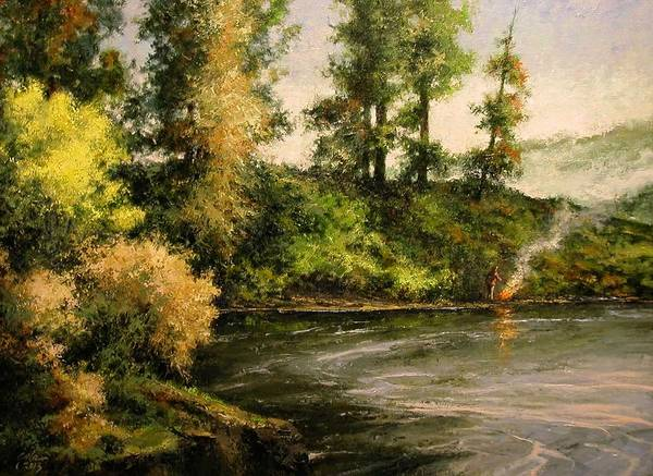 Rivers Wall Art - Painting - The Bottoms - Warming Up by Jim Gola