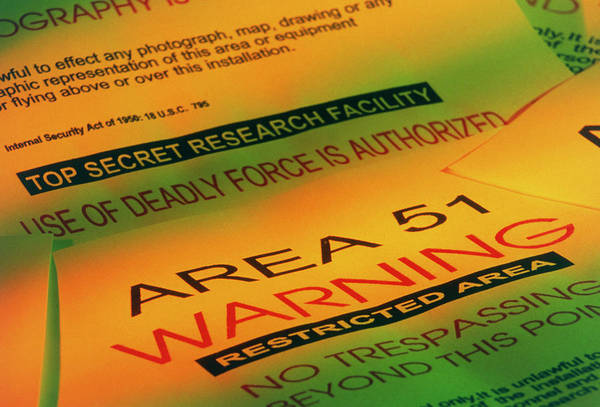 Area 51 Wall Art - Photograph - Warning Signs From The Area 51 Ufo Research Site by Tony Craddock/science Photo Library