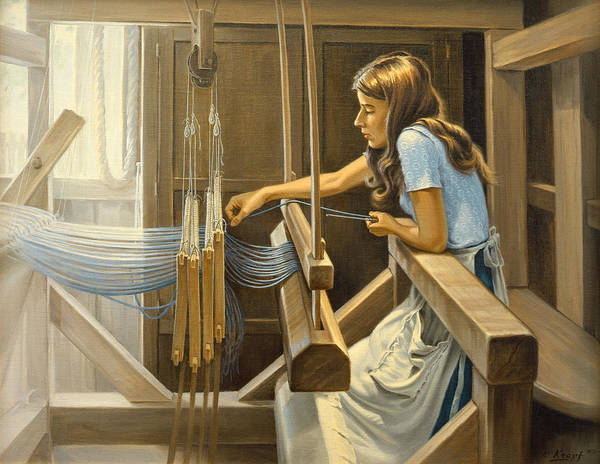 Colonial Wall Art - Painting - Warping The Loom  by Paul Krapf