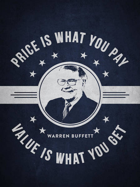 Banking Digital Art - Warren Buffet - Navy Blue by Aged Pixel