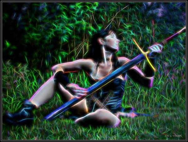Painting - Warrior Maiden by Jon Volden