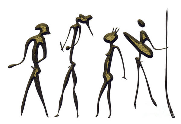 Wall Art - Mixed Media - Warriors - Primitive Art by Michal Boubin