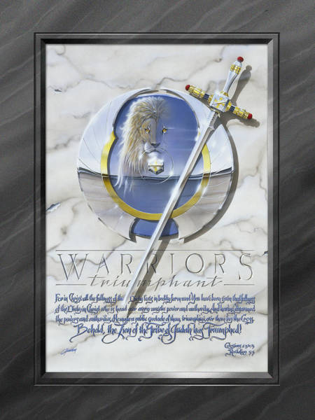 Spiritual Warfare Painting - Warriors Triumphant With Faux Matte by Cliff Hawley
