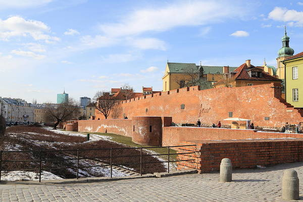 Warsaw Old Town Wall And Castle Art Print by Pejft