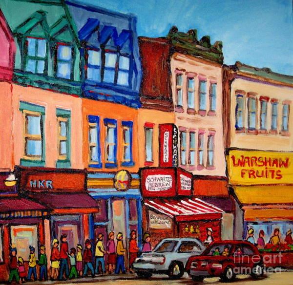 Painting - Warshaw's Bargain Fruit Market Canadian Art Vintage Montreal Paintings Jewish  Heritage Themes by Carole Spandau