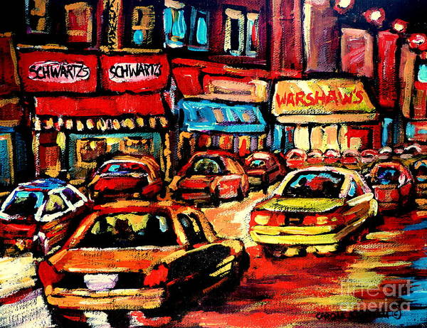 Painting - Warshaw's Bargain Fruits Store Montreal Night Scene Jewish Montreal Painting Carole Spandau by Carole Spandau