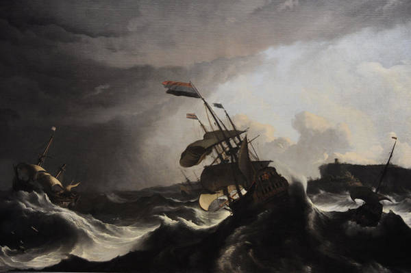 Wall Art - Painting - Warships In A Heavy Storm by Ludolf Bakhuysen
