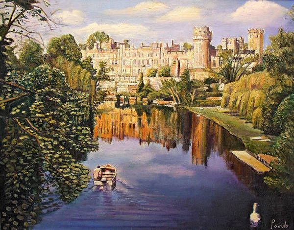 Rowing Wall Art - Photograph - Warwick Castle, 2008 Oil On Canvas by Kevin Parrish