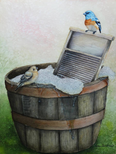 Bunting Painting - Wash Day by Theresa Stinnett