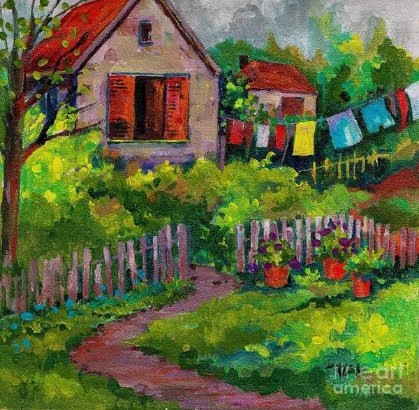Painting - Washday No 1 by Val Stokes