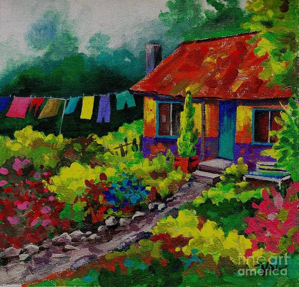 Painting - Washday No 2 by Val Stokes