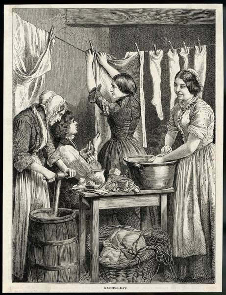 Wall Art - Drawing - Washing-day by Mary Evans Picture Library