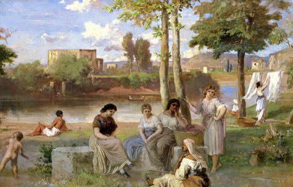 Tiber Wall Art - Painting - Washing On The Tiber by Heinrich Dreber