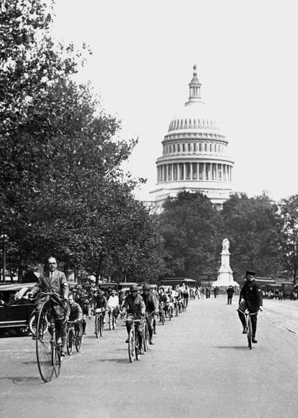 1924 Photograph - Washington Bicycle Parade by Underwood Archives