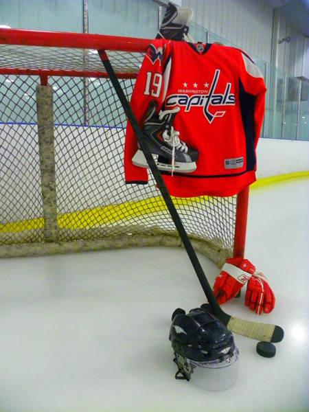 Photograph - Washington Capitals Nicklas Backstrom Home Hockey Jersey by Lisa Wooten