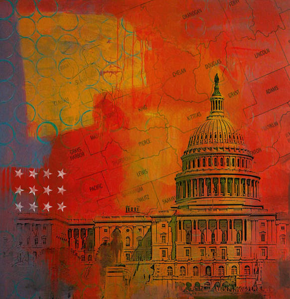 Washington County Wall Art - Painting - Washington City Collage Alternative by Corporate Art Task Force