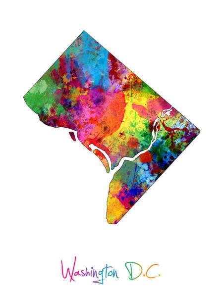 Washington State Wall Art - Digital Art - Washington Dc District Of Columbia Map by Michael Tompsett