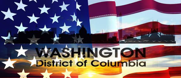 Mixed Media - Washington Dc Patriotic Large Cityscape by Angelina Tamez