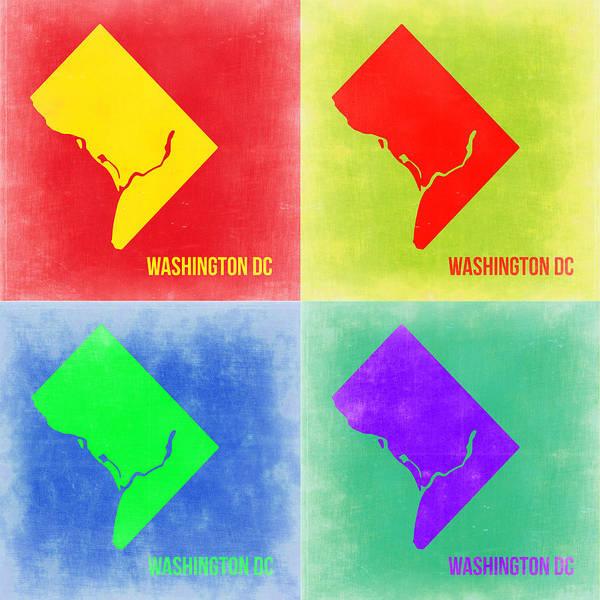Dc Wall Art - Painting - Washington Dc Pop Art Map 2 by Naxart Studio