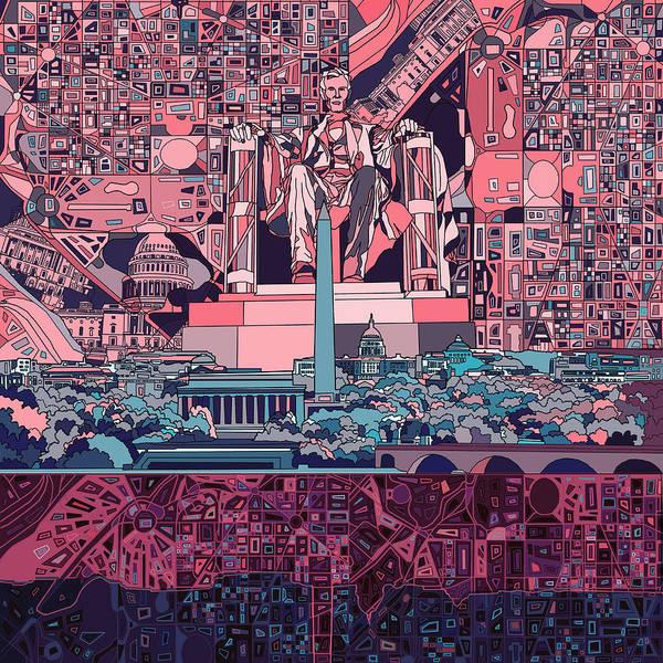 Congress Painting - Washington Dc Skyline Abstract 2 by Bekim M