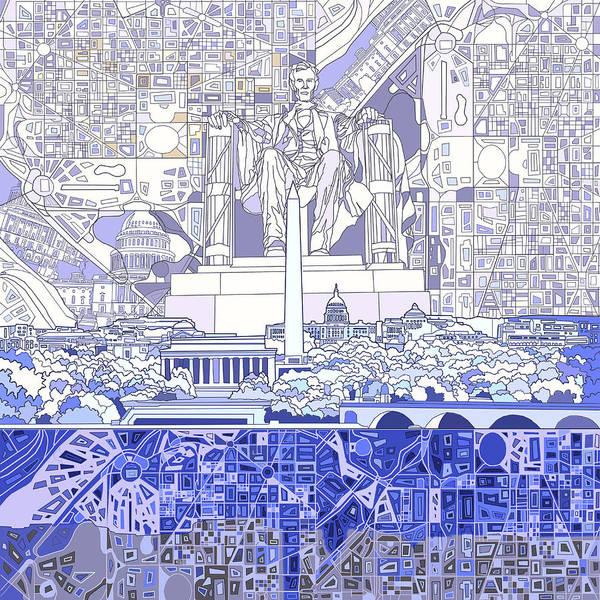 Congress Painting - Washington Dc Skyline Abstract 3 by Bekim M