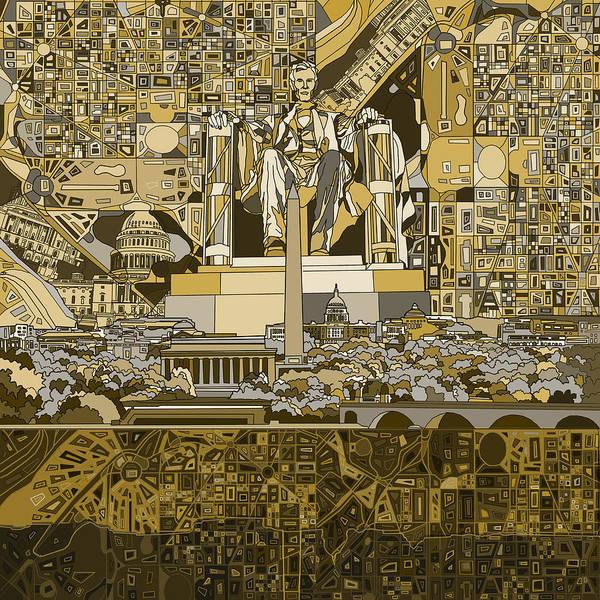 Congress Painting - Washington Dc Skyline Abstract 4 by Bekim M