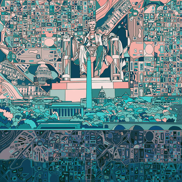 Detail Digital Art - Washington Dc Skyline Abstract 5 by Bekim Art