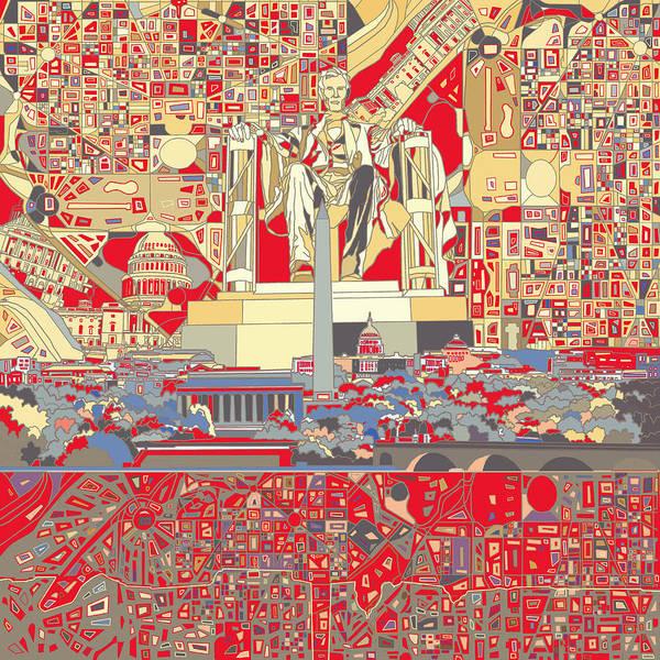 Congress Painting - Washington Dc Skyline Abstract 6 by Bekim M