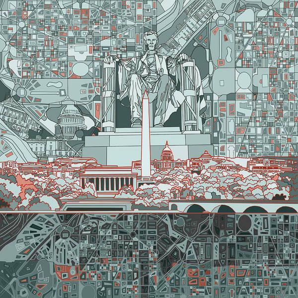 Congress Painting - Washington Dc Skyline Abstract by Bekim M