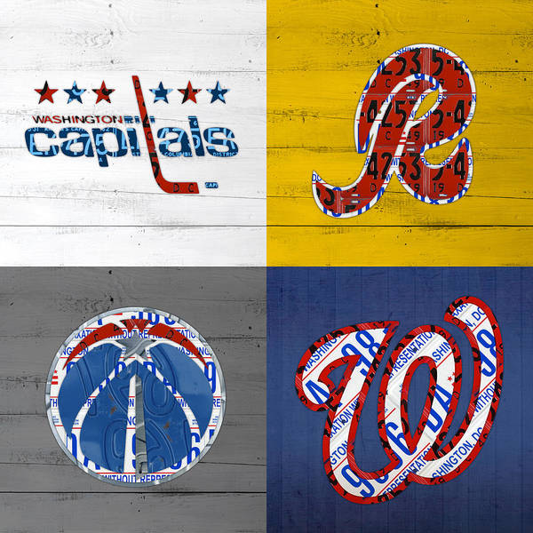 District Wall Art - Mixed Media - Washington Dc Sports Fan Recycled Vintage License Plate Art Capitals Redskins Wizards Nationals by Design Turnpike