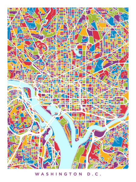 Streets Digital Art - Washington Dc Street Map by Michael Tompsett