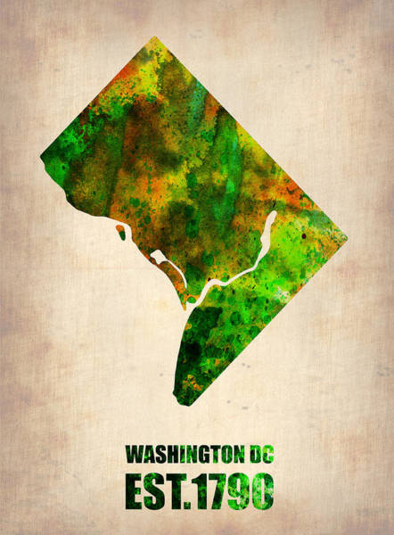 Dc Wall Art - Digital Art - Washington Dc Watercolor Map by Naxart Studio