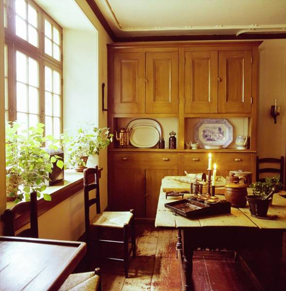 Rustic Furniture Photograph - Washington Irving's Kitchen by Horst P. Horst
