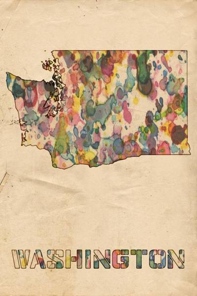 Painting - Washington Map Vintage Watercolor by Florian Rodarte