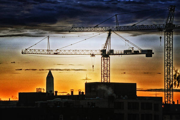 Photograph - Washington Monument Cranes by Bill Swartwout Photography